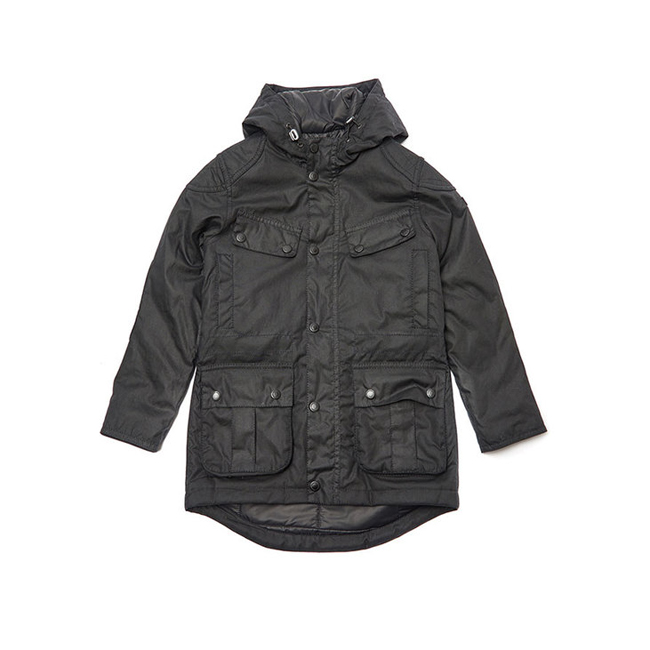 Barbour Boys B.INTL STORM WAX PARKA JACKET Black On Sale