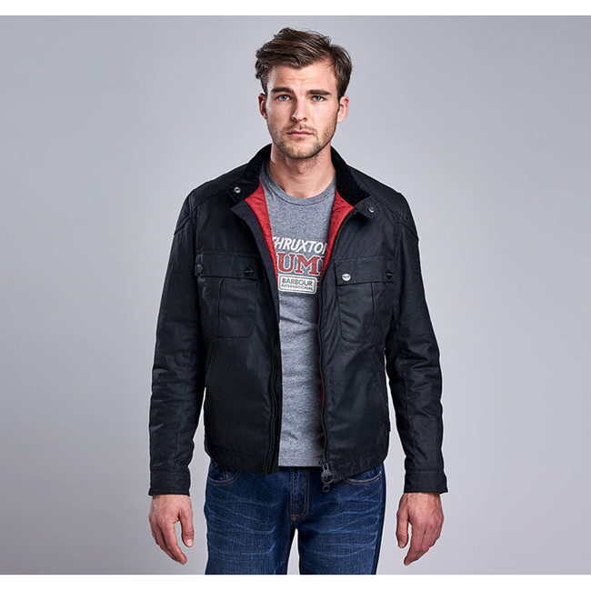 Barbour Men B.INTL TRIUMPH LOCKING WAX JACKET Black On Sale