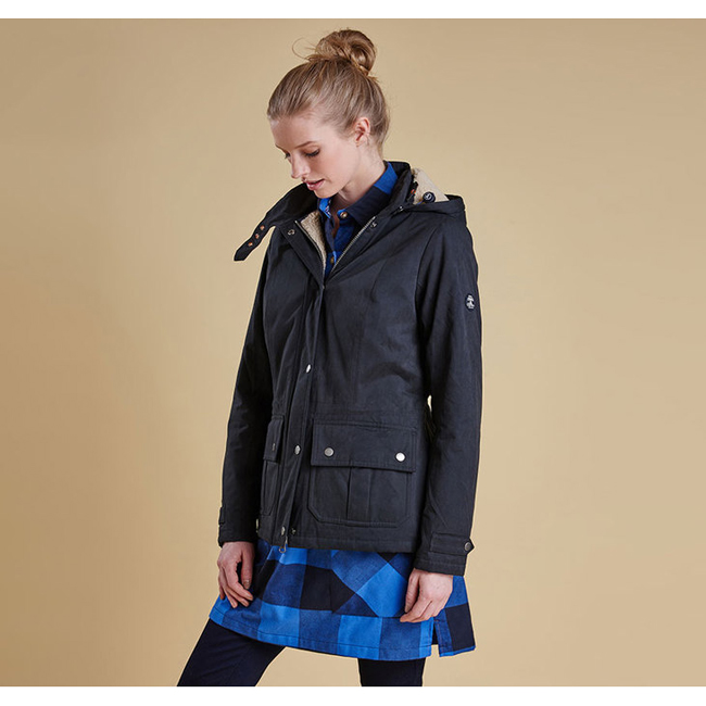 Barbour Women CONVEY WATERPROOF BREATHABLE JACKET Navy / Natural  On Sale
