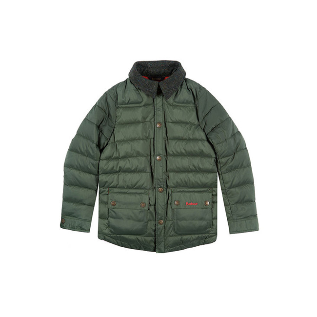 Barbour Boys LANDAN QUILTED JACKET Racing Green On Sale