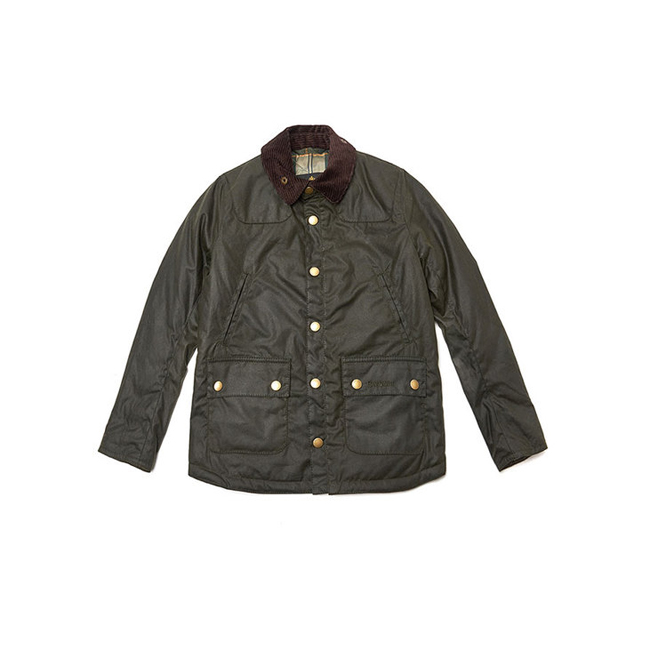 Barbour Boys WINTER REELIN WAX JACKET Sage On Sale