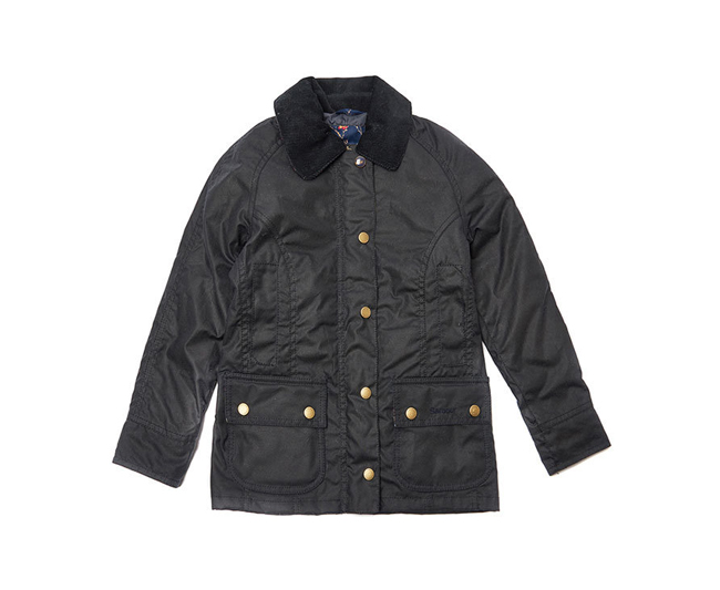 Barbour Girls RANNOCH BEADNELL WAX JACKET Navy On Sale