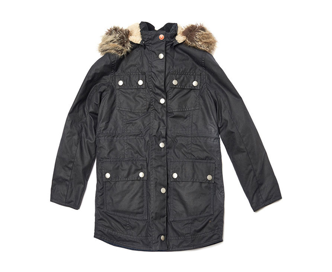 Barbour Girls CARRIBENA WAX PARKA JACKET Navy On Sale