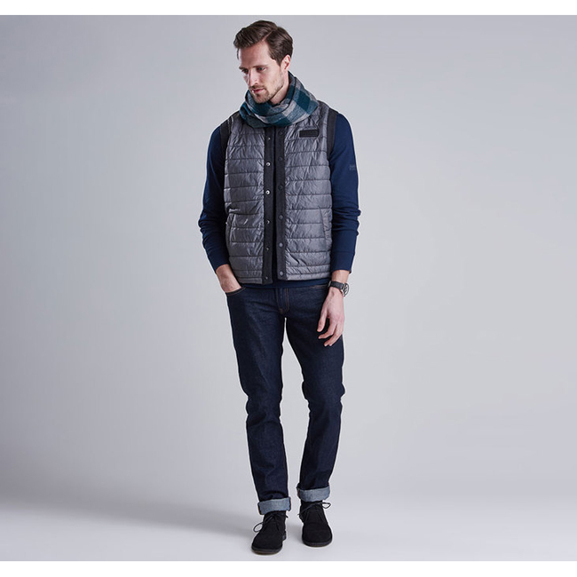Barbour Men B.INTL BAFFLE GILET Charcoal On Sale