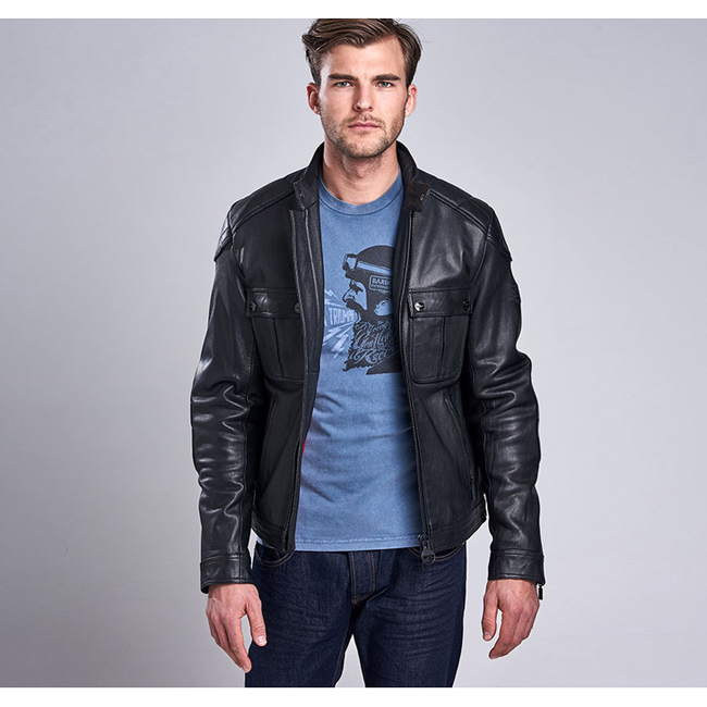 Barbour Men B.INTL TRIUMPH LOCKING LEATHER JACKET Black On Sale