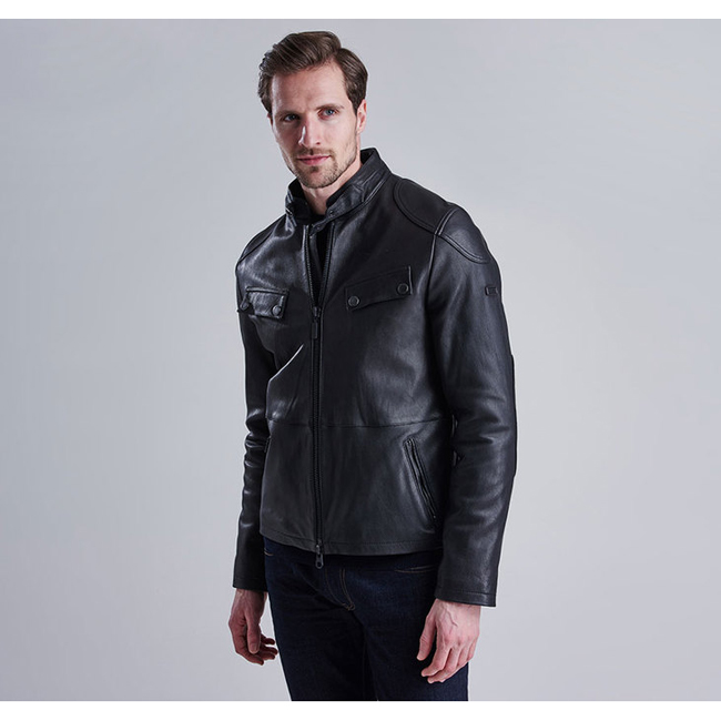 Barbour Men B.INTL TRACTION LEATHER JACKET Black On Sale