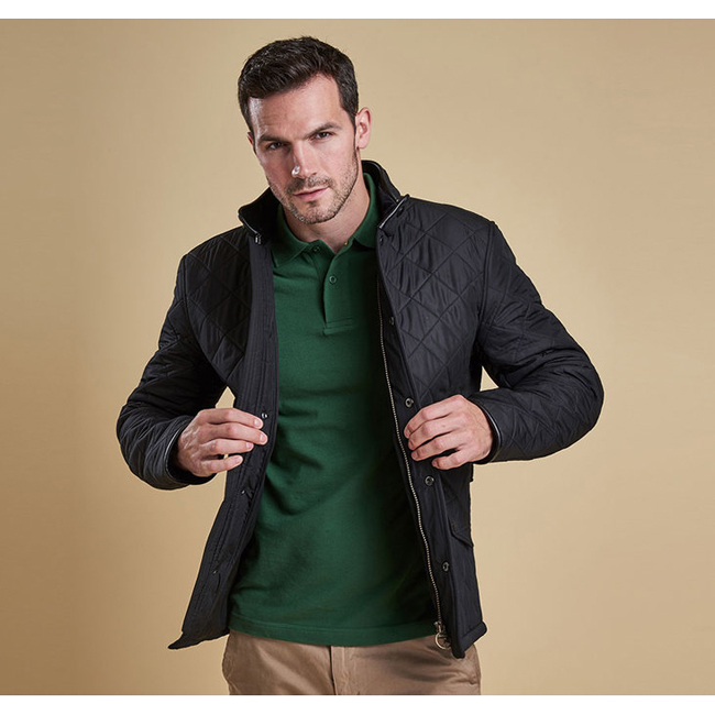Barbour Men POWELL QUILTED JACKET Black On Sale