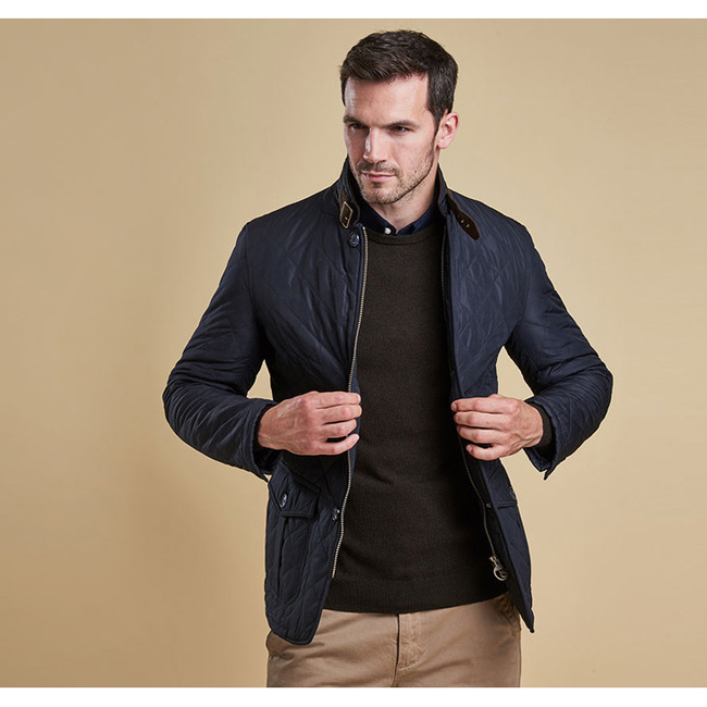 Barbour Men LUTZ QUILTED JACKET Navy On Sale