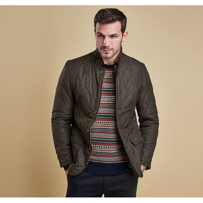 Barbour Men LUTZ QUILTED JACKET Olive On Sale