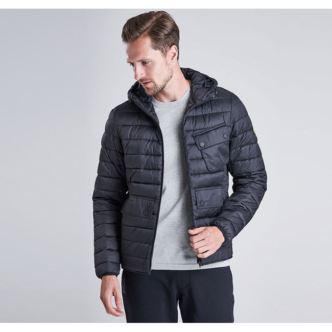 Barbour Men B.INTL OUSTON HOODED SLIM QUILTED JACKET Black On Sale