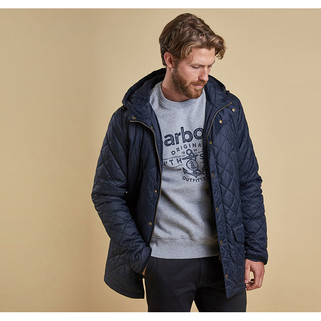 Barbour Men CROWL QUILTED JACKET Navy On Sale