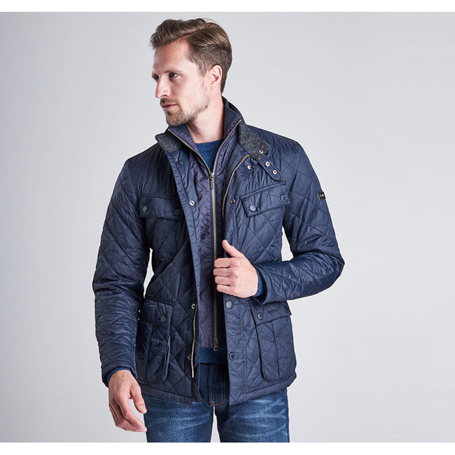 Barbour Men B.INTL WINDSHIELD TAILORED FIT QUILTED JACKET  Navy On Sale
