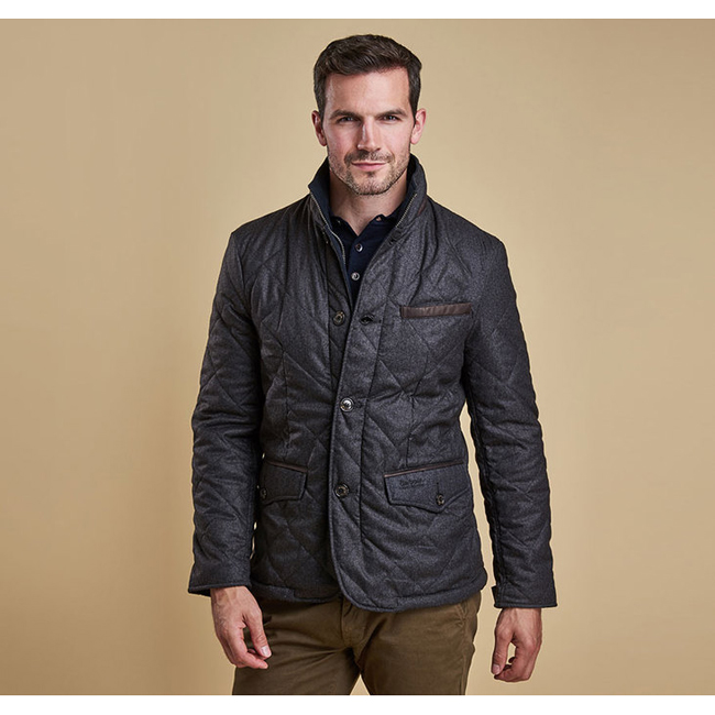 Barbour Men FILEY QUILTED JACKET Dark Charcoal On Sale