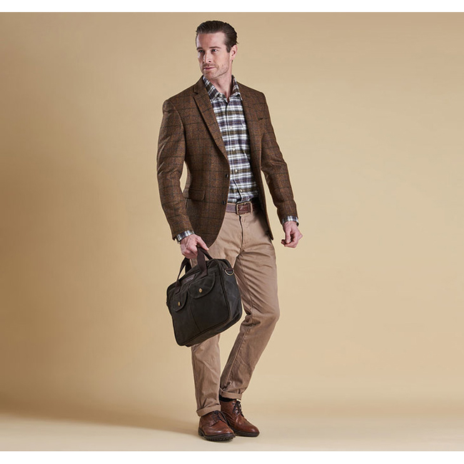 Barbour Men BELTEX TAILORED JACKET Brown/Green Check On Sale