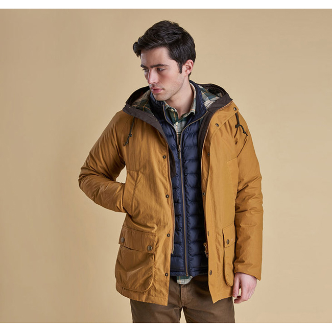 Barbour Men HOODED WATERPROOF BEDALE JACKET Yellow  On Sale