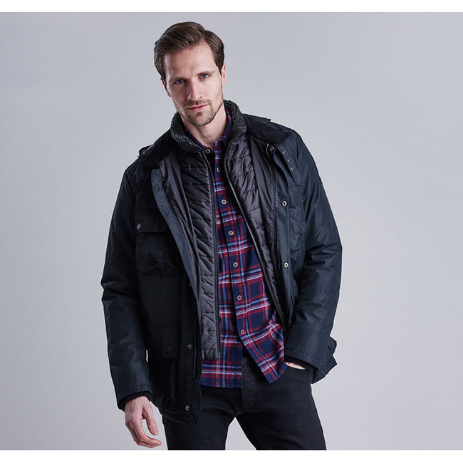 Barbour Men B.INTL CAPACITOR WATERPROOF JACKET Black  On Sale