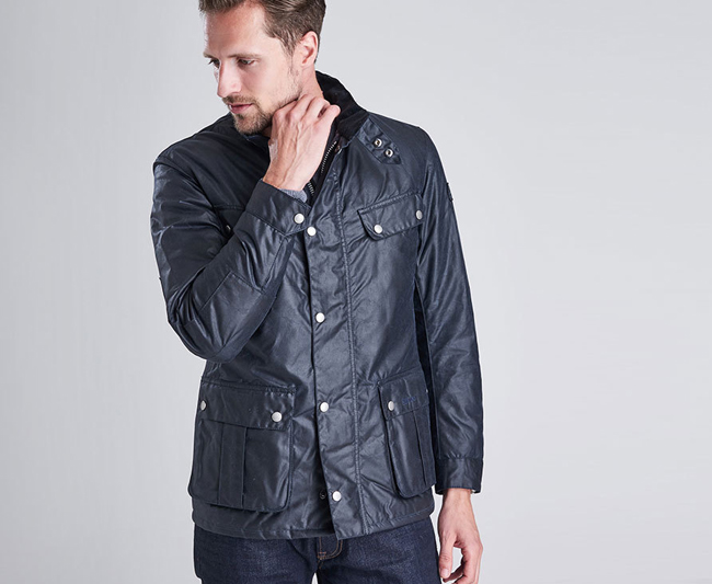 Barbour Men B Intl Duke Wax Jacket Navy On Sale