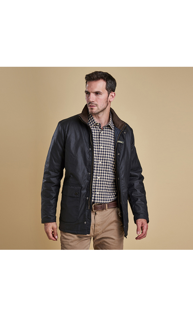 Barbour Men GUILLEMOT WAX JACKET Navy On Sale