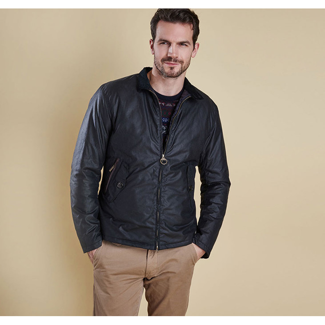 Barbour Men ELGIN WAX JACKET Navy On Sale