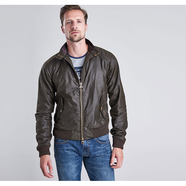 Barbour Men B.INTL MERCHANT WAX JACKET Olive On Sale