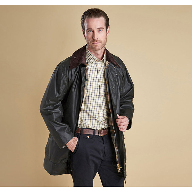Barbour Men BORDER WAX JACKET Sage On Sale