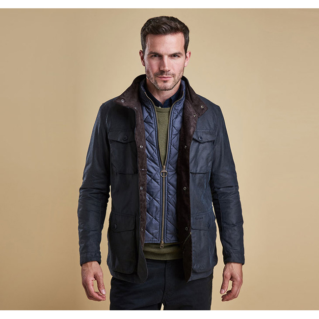 Barbour Men OGSTON WAX JACKET Navy On Sale