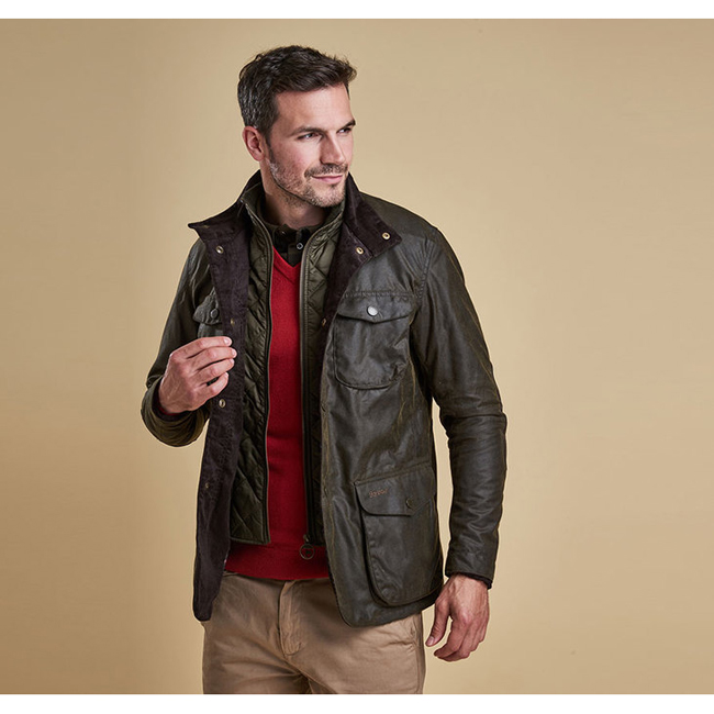 Barbour Men OGSTON WAX JACKET Olive On Sale