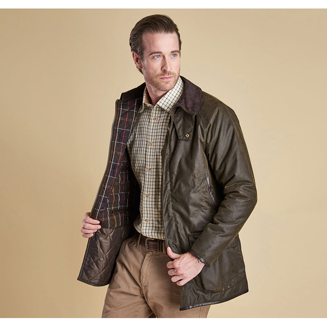 Barbour Men LONGHURST WAX JACKET Olive On Sale
