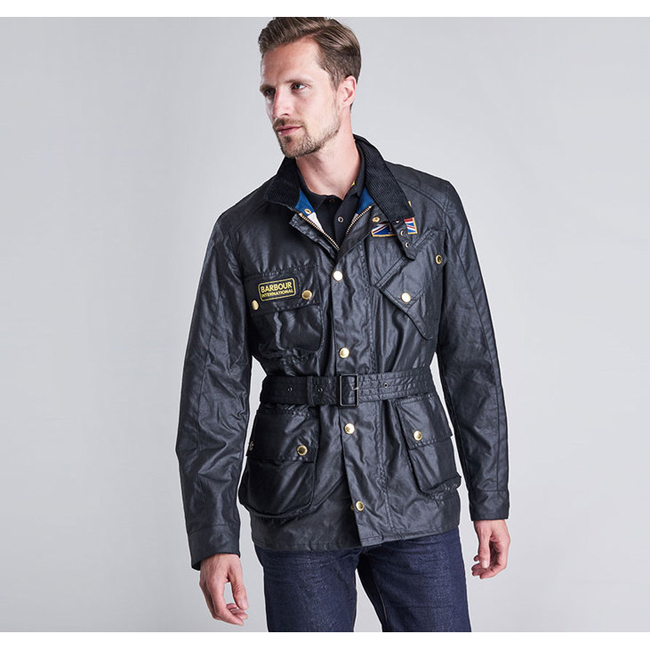 Barbour Men B.INTL UNION JACK WAX JACKET Black On Sale