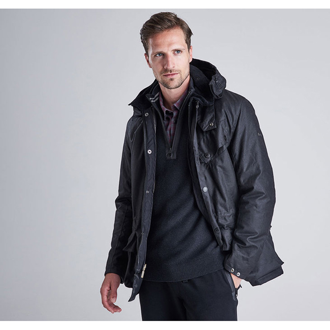 Barbour Men B.INTL ONYX WAX JACKET Black On Sale