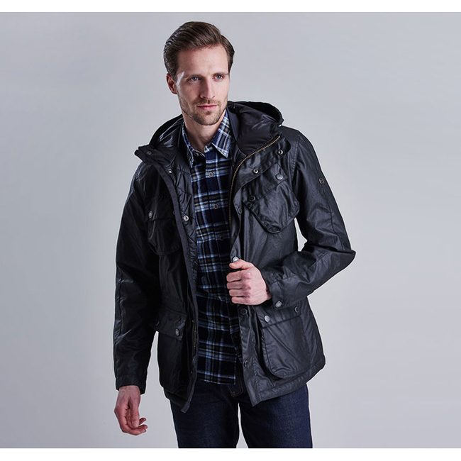 Barbour Men B.INTL V TECH WAX PARKA JACKET Black On Sale