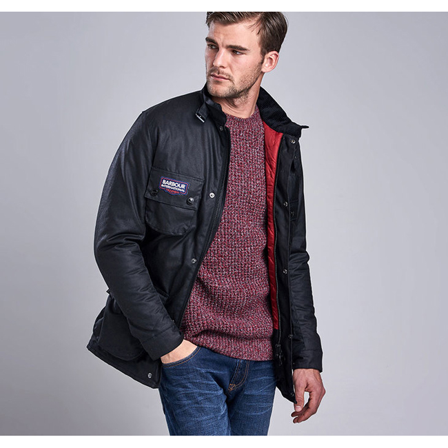 Barbour Men B.INTL TRIUMPH A7 WAX JACKET Black On Sale