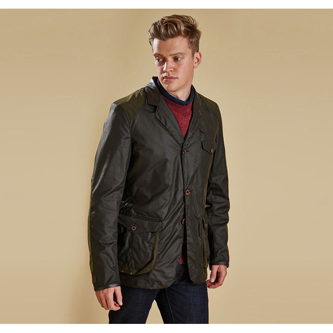 Barbour Men BEACON SPORTS WAX JACKET Olive On Sale