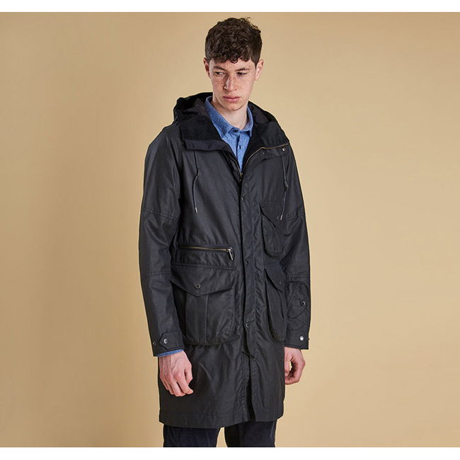 Barbour Men APUS WAX JACKET Navy On Sale