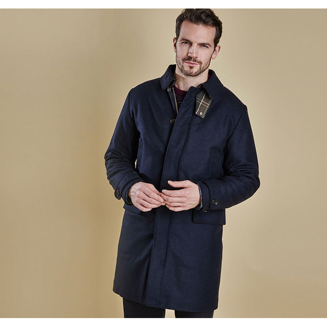 Barbour Men WATTEN WOOL JACKET Navy On Sale