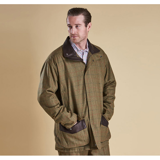 Barbour Men MOORHEN WATERPROOF WOOL JACKET Olive/Brn Check On Sale