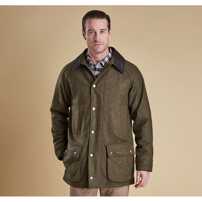 Barbour Men DOTTEREL WATERPROOF WOOL JACKET Olive/Rd/Yel On Sale
