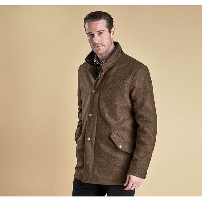 Barbour Men WIMBREL WOOL TWEED JACKET Olive/Re/Or  On Sale