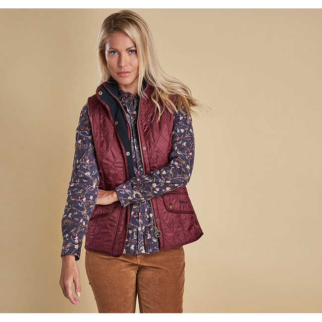 Barbour Women CAVALRY QUILTED GILET Rosewood/Navy On Sale