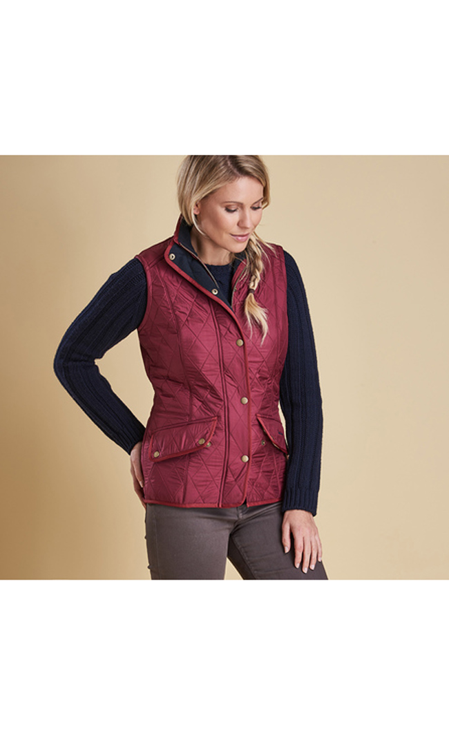 Barbour Women CAVALRY QUILTED GILET Burgundy On Sale