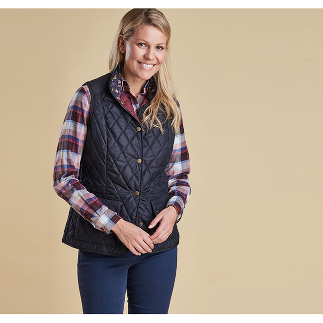 Barbour Women SADDLEWORTH QUILTED GILET Navy On Sale