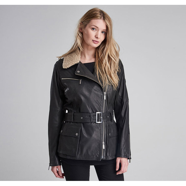 Barbour Women B.INTL CHARADE LEATHER JACKET Black  On Sale