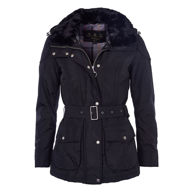Barbour Women OLDANY WATERPROOF JACKET Black  / Navy Winter Tartan On Sale
