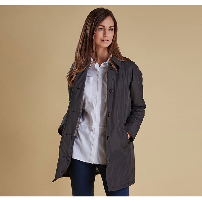 Barbour Women STRAITON WATERPROOF JACKET Ash Grey / Winter Tartan On Sale