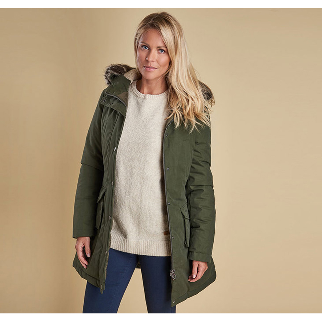 Barbour Women WREST WATERPROOF PARKA COAT Olive On Sale