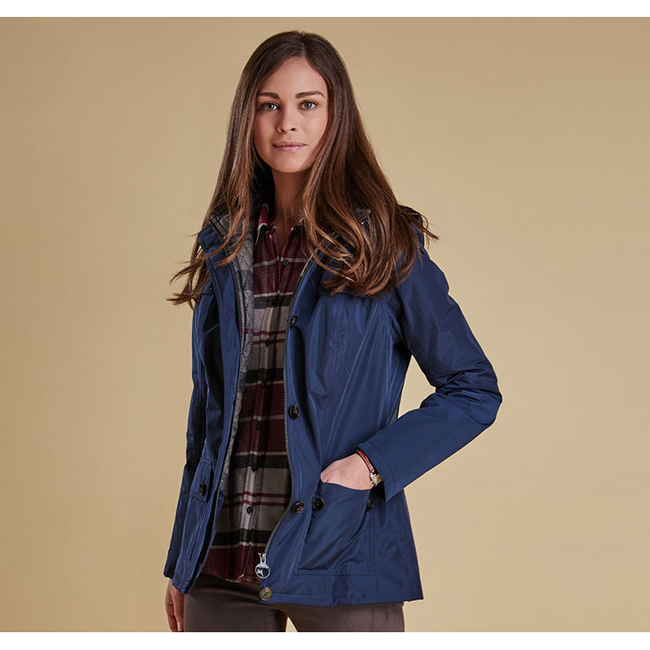 Barbour Women OLDANY WATERPROOF JACKET Navy / Navy Winter Tartan On Sale