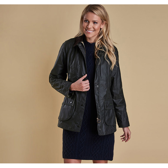 Barbour Women BEADNELL WAX JACKET Sage On Sale