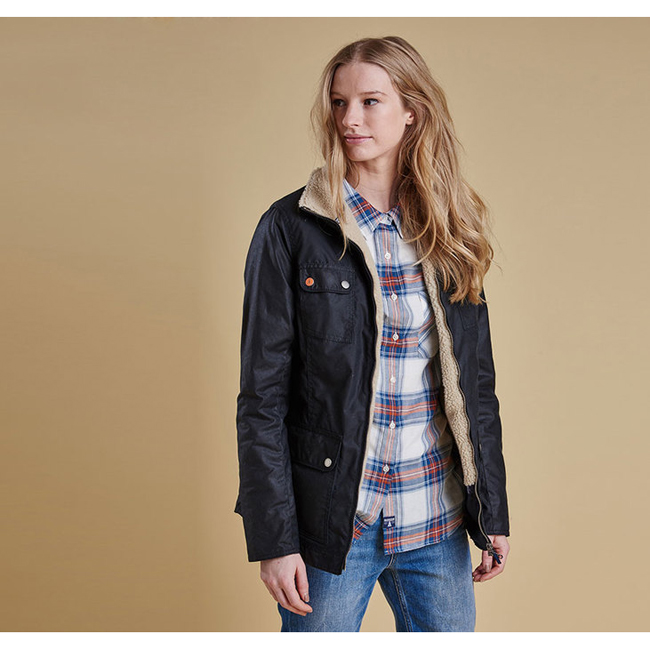 Barbour Women HOWMAN WAX JACKET Navy On Sale