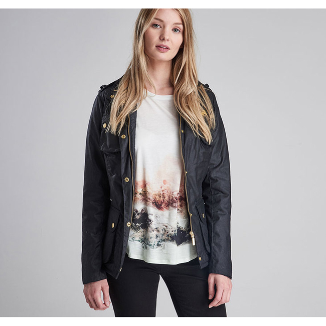 Barbour Women B.INTL FINS WAX JACKET Black On Sale
