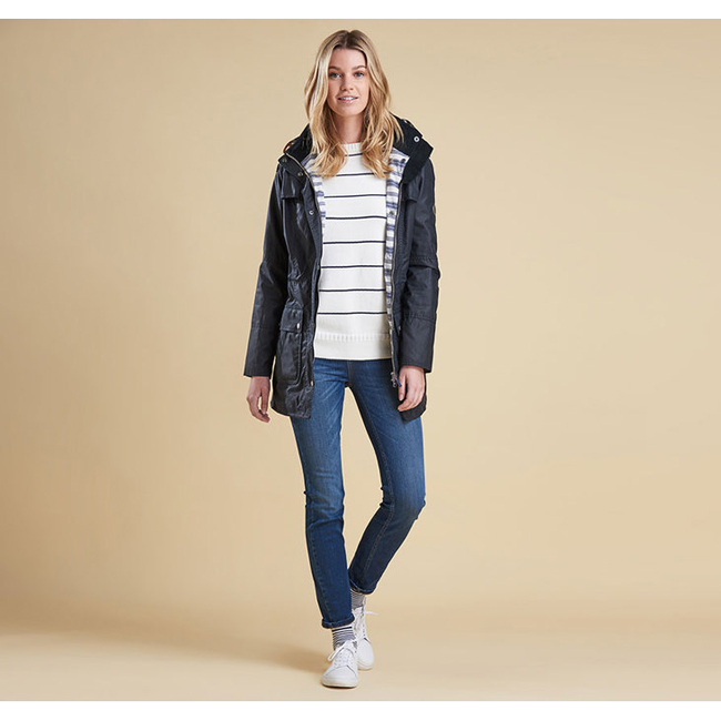 Barbour Women BARNACLE WAX JACKET Navy  On Sale